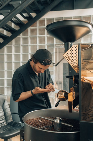A young man is observing coffee beans, examining their quality