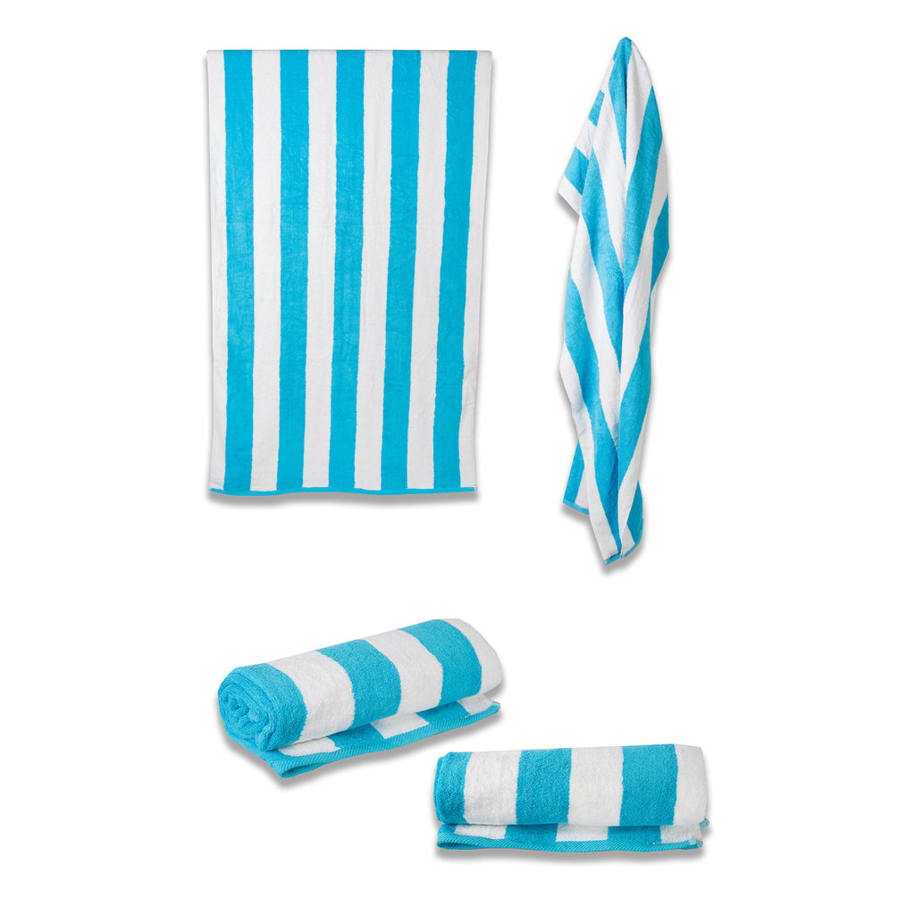 Cabana Striped Pool Towel - Turquoise - Terry House