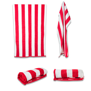 Cabana Striped Pool Towel - Red - Terry House