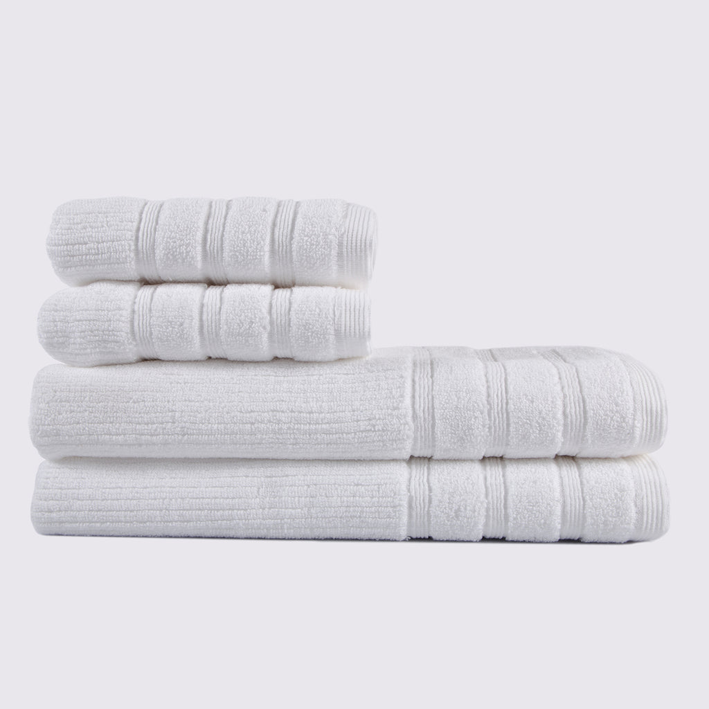 White Bath Towel - Cam Stripe Design - Terry House