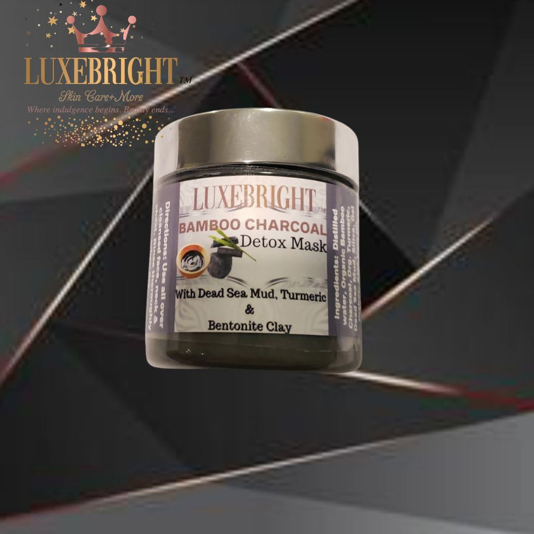 BAMBOO CHARCOAL DETOX MASQUE- with Dead Sea Mud & Turmeric - Luxebright Skincare LLC