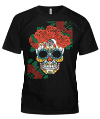 Women's Skull Shirt With Vibrant Rose Crown - - SugarSkulls.io
