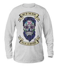 Dia De Los Muertos Banner Male Sugar Skull (Blue Hair) Dry Sport Long-Sleeve - SugarSkulls.io