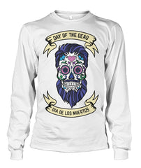 Dia De Los Muertos Banner Male Sugar Skull (Blue Hair) Unisex Long Sleeve - SugarSkulls.io