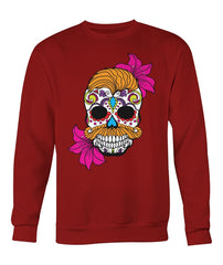 Male Skull Sweatshirt With Orange Hair and Deep Pink Flowers - - SugarSkulls.io