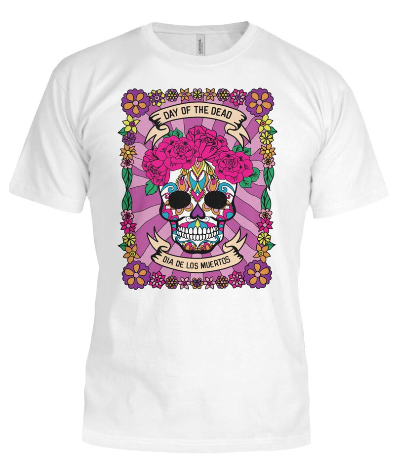 Dia De Los Muertos FULL Banner Female Sugar Skull Bella Canvas Tee - SugarSkulls.io