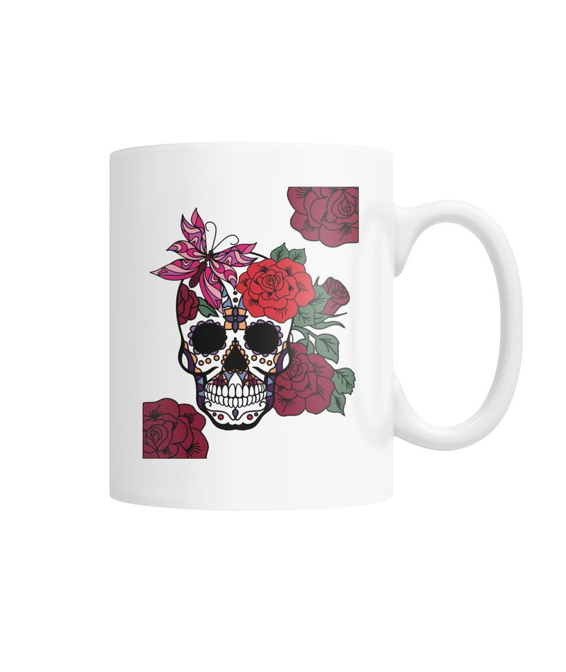 Female Skull Mug With Butterfly and Rose - SugarSkulls.io