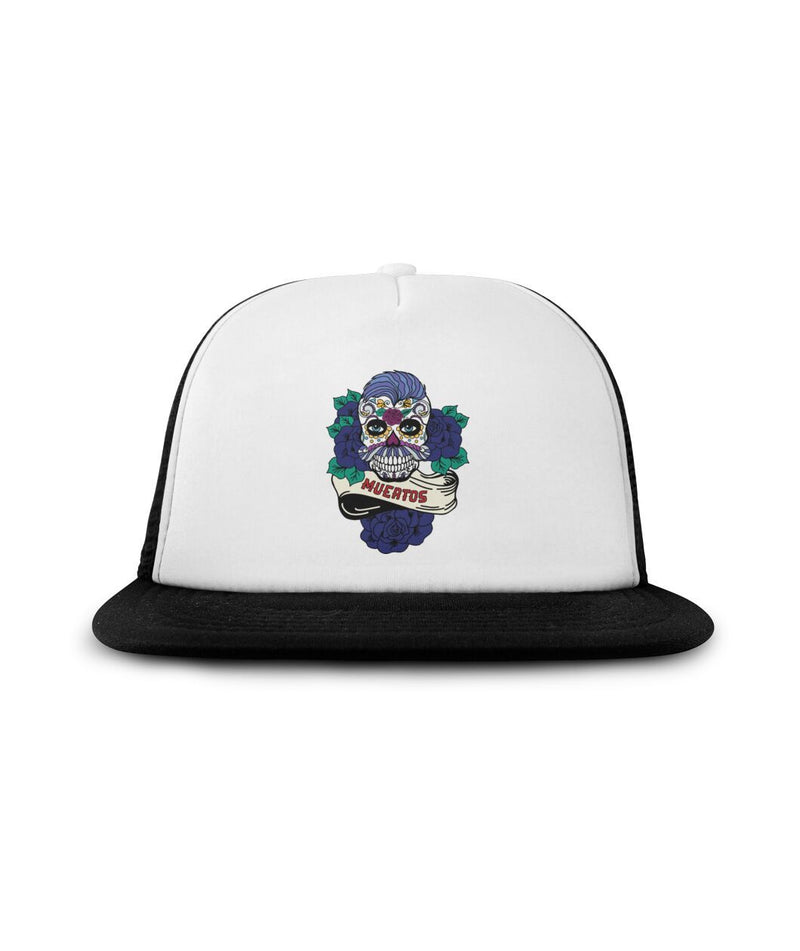 Men's Sugar Skull (Blue Hair) Muertos Banner Sublimation Hat - SugarSkulls.io
