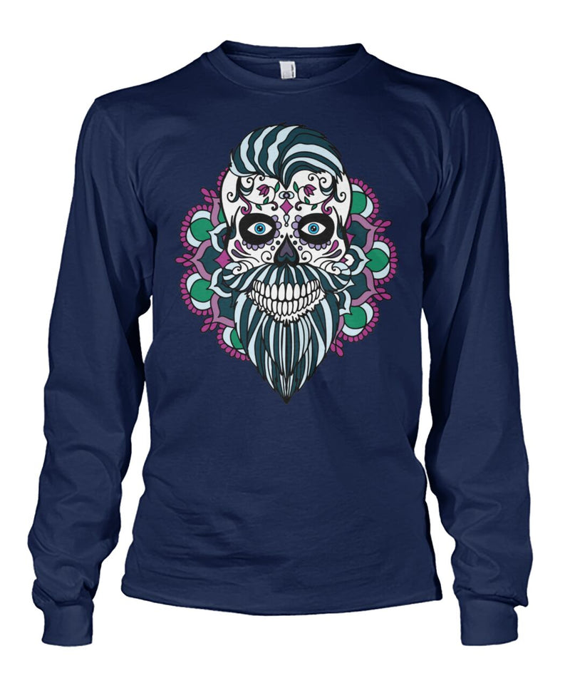 Male Skull Sweatshirt With Blue Hair and Mandala Backround - - SugarSkulls.io