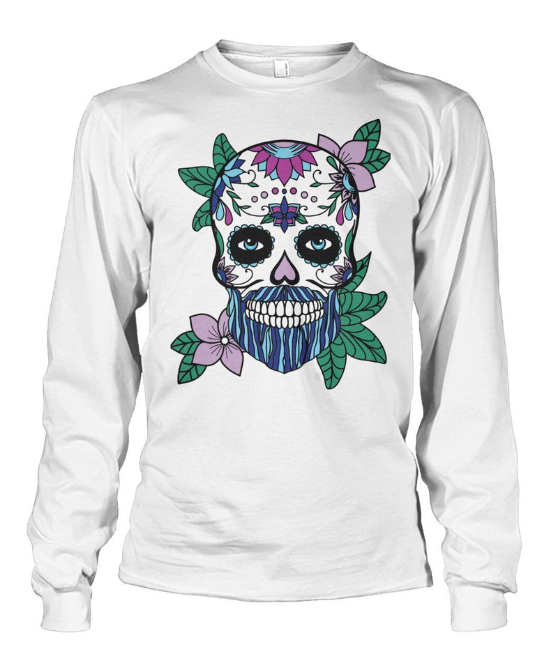 Male Skull Sweatshirt With Blue Hair and Purple Flowers - - SugarSkulls.io