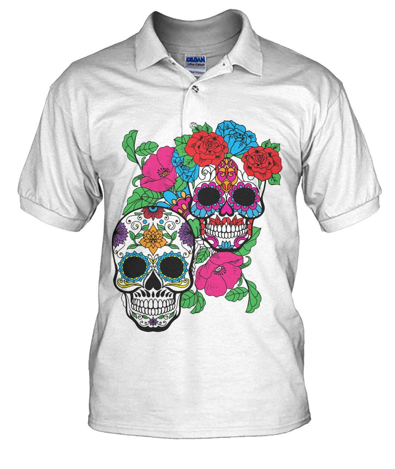 Day of The Dead (Dia De Los Muertos) With Fun Sugar Skull Men's Polo - SugarSkulls.io