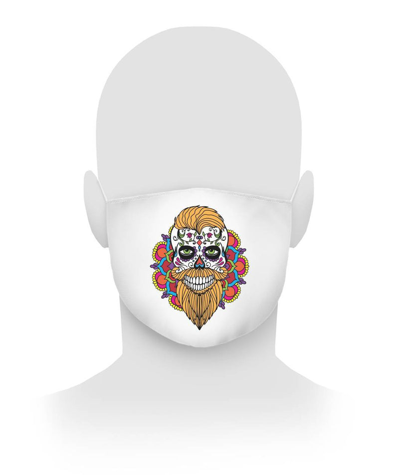 Male Skull Mask With Orange Hair and Mandala Backround -  Cloth Face Mask - SugarSkulls.io