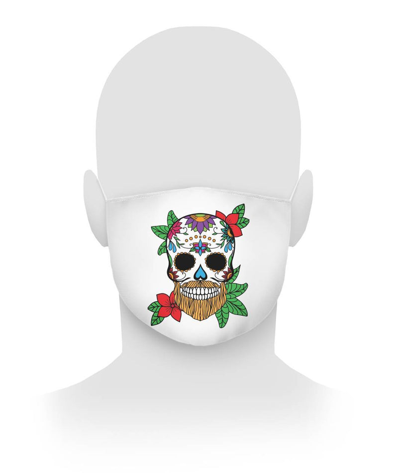 Male Skull Mask With Orange Hair and Sunburnt Orange Flowers -  Cloth Face Mask - SugarSkulls.io