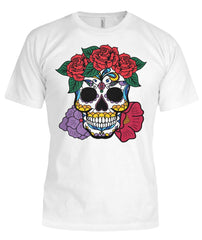 Women's Skull Shirt With Red and Purple Flowers Bella Canvas Tee - SugarSkulls.io