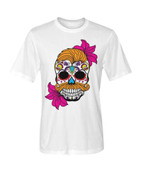 Male Skull Shirt With Orange Hair and Deep Pink Flowers Dry Sport Tee - SugarSkulls.io