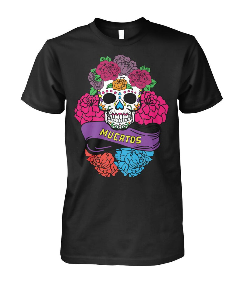 "Day of The Dead (Dia De Los Muertos) Sugar Skull With ""Muertos"" Banner Unisex Cotton Tee - SugarSkulls.io"
