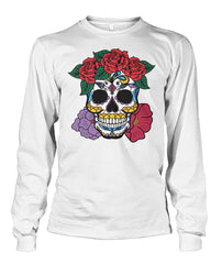 Women's Skull Sweatshirt With Red and Purple Flowers - SugarSkulls.io