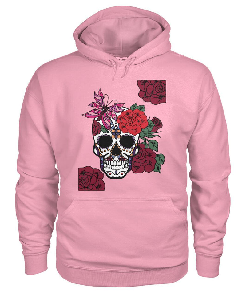 Women's Skull Hoodie With Butterfly and Rose - - SugarSkulls.io