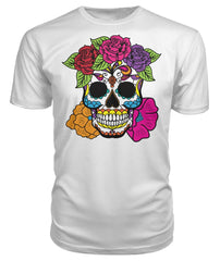 Female Skull Shirt With Red, Pink, Orange, And Purple Flowers -  Premium Unisex Tee - SugarSkulls.io