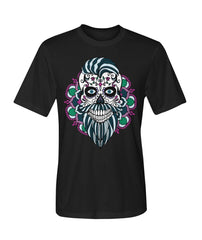 Male Skull Shirt With Blue Hair and Mandala Backround -  Dry Sport Tee - SugarSkulls.io