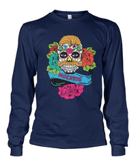 Dia De Los Muertos Banner Male Sugar Skull (Orange Hair) Unisex Long Sleeve - SugarSkulls.io