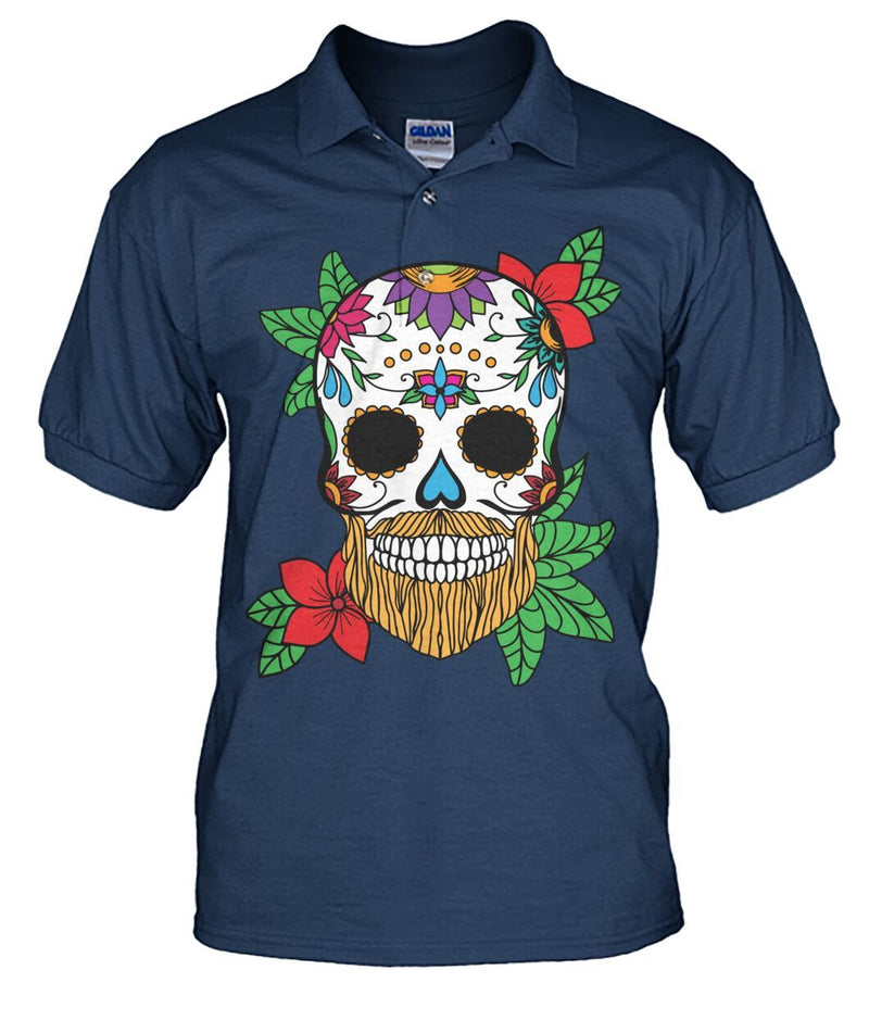 Male Skull Shirt With Orange Hair and Sunset Orange Flowers - Men's Polo - SugarSkulls.io