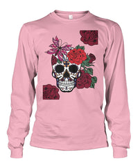 Women's Skull Sweatshirt With Butterfly and Rose - - SugarSkulls.io