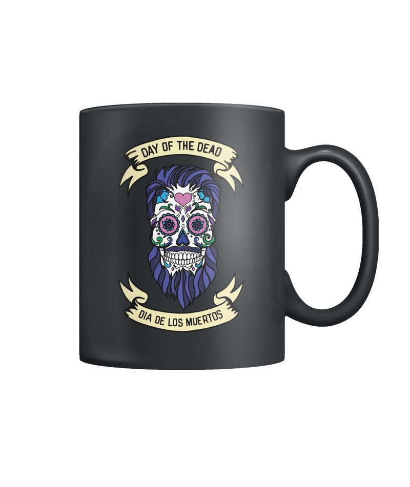 Male Skull Mug - Day Of The Dead - White Banners - - SugarSkulls.io