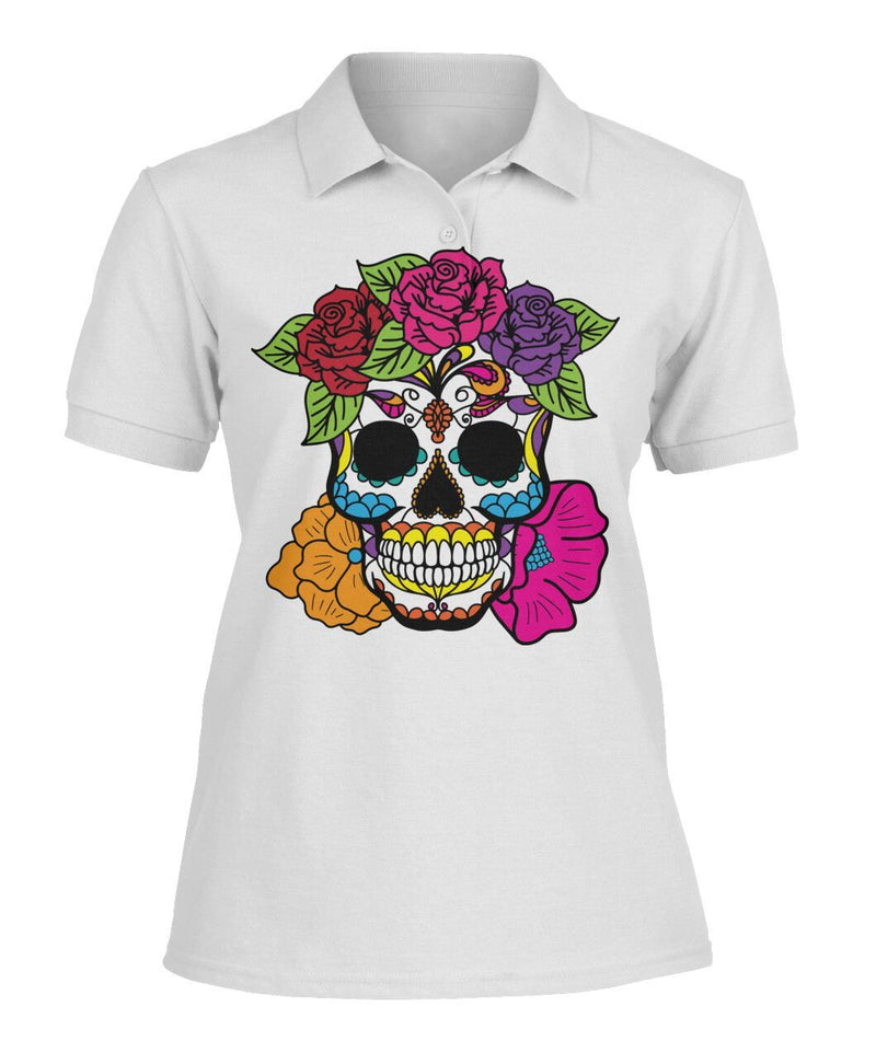 Female Skull Shirt With Red, Pink, Orange, And Purple Flowers -  Women's Polo - SugarSkulls.io