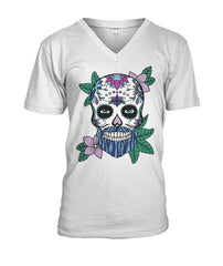 Mens Skull Shirt With Blue Hair and Purple Flowers Mens V-Neck - SugarSkulls.io