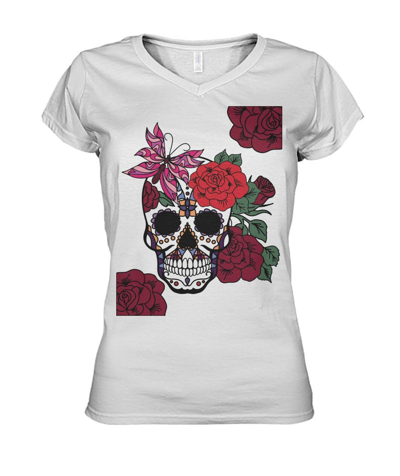 Women's Skull Shirt With Butterfly and Rose -  Women's V-Neck - SugarSkulls.io