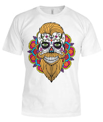 Male Skull Shirt With Orange Hair and Mandala Backround - Bella Canvas Tee - SugarSkulls.io