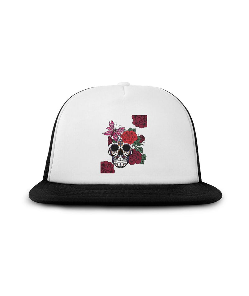Sugar Skull With Red Flowers Sublimation Hat - SugarSkulls.io