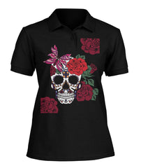 Women's Skull Shirt With Butterfly and Rose -  Women's Polo - SugarSkulls.io