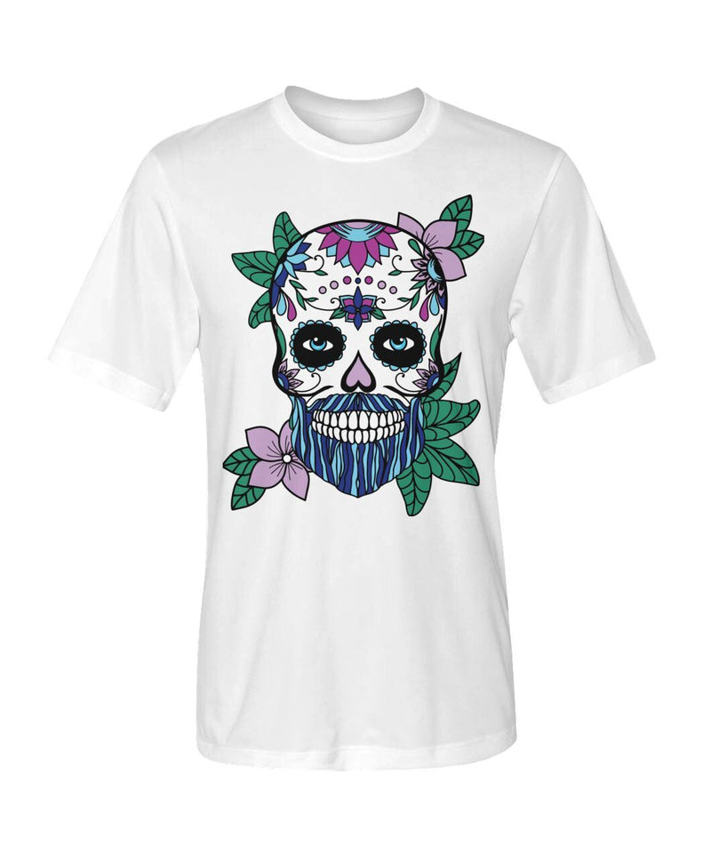Mens Skull Shirt With Blue Hair and Purple Flowers Dry Sport Tee - SugarSkulls.io