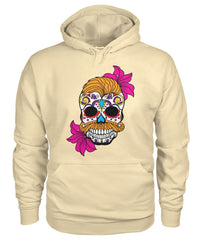 Male Skull Hoodie With Orange Hair and Deep Pink Flowers - SugarSkulls.io