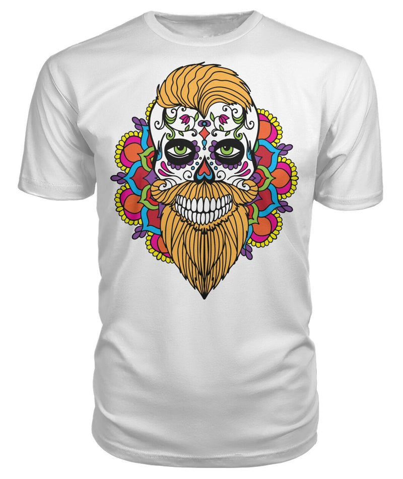 Male Skull Shirt With Orange Hair and Mandala Backround - Premium Unisex Tee - SugarSkulls.io