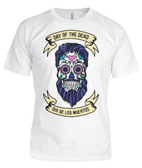 Dia De Los Muertos Banner Male Sugar Skull (Blue Hair) Bella Canvas Tee - SugarSkulls.io