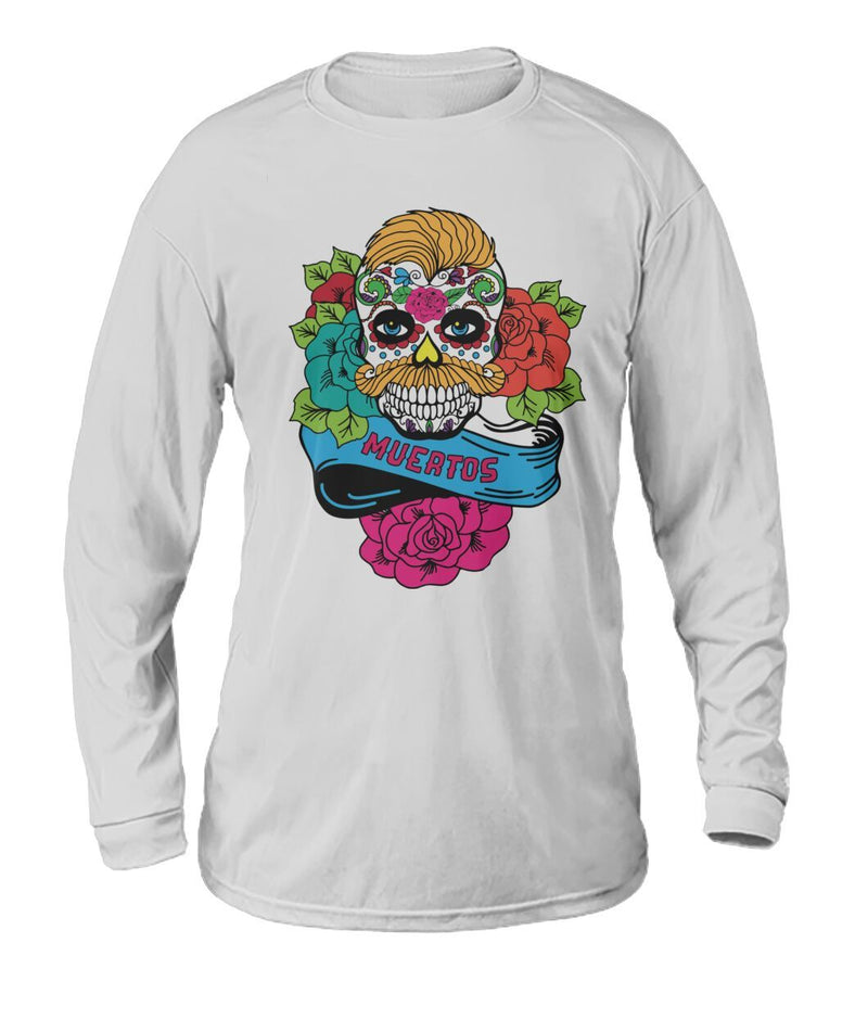 Dia De Los Muertos Banner Male Sugar Skull (Orange Hair) Dry Sport Long-Sleeve - SugarSkulls.io