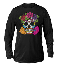 Female Skull Sweatshirt With Red, Pink, Orange, And Purple Flowers - SugarSkulls.io