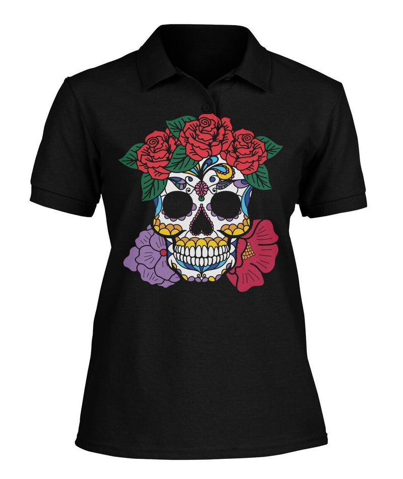 Women's Skull Shirt With Red and Purple Flowers Women's Polo - SugarSkulls.io