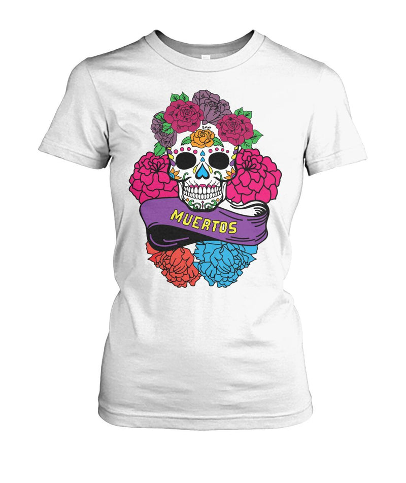 "Day of The Dead (Dia De Los Muertos) Sugar Skull With ""Muertos"" Banner Women's Crew Tee - SugarSkulls.io"