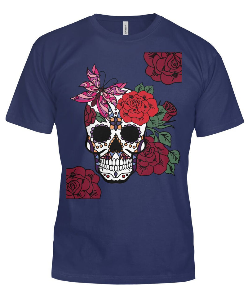Women's Skull Shirt With Butterfly and Rose -  Bella Canvas Tee - SugarSkulls.io