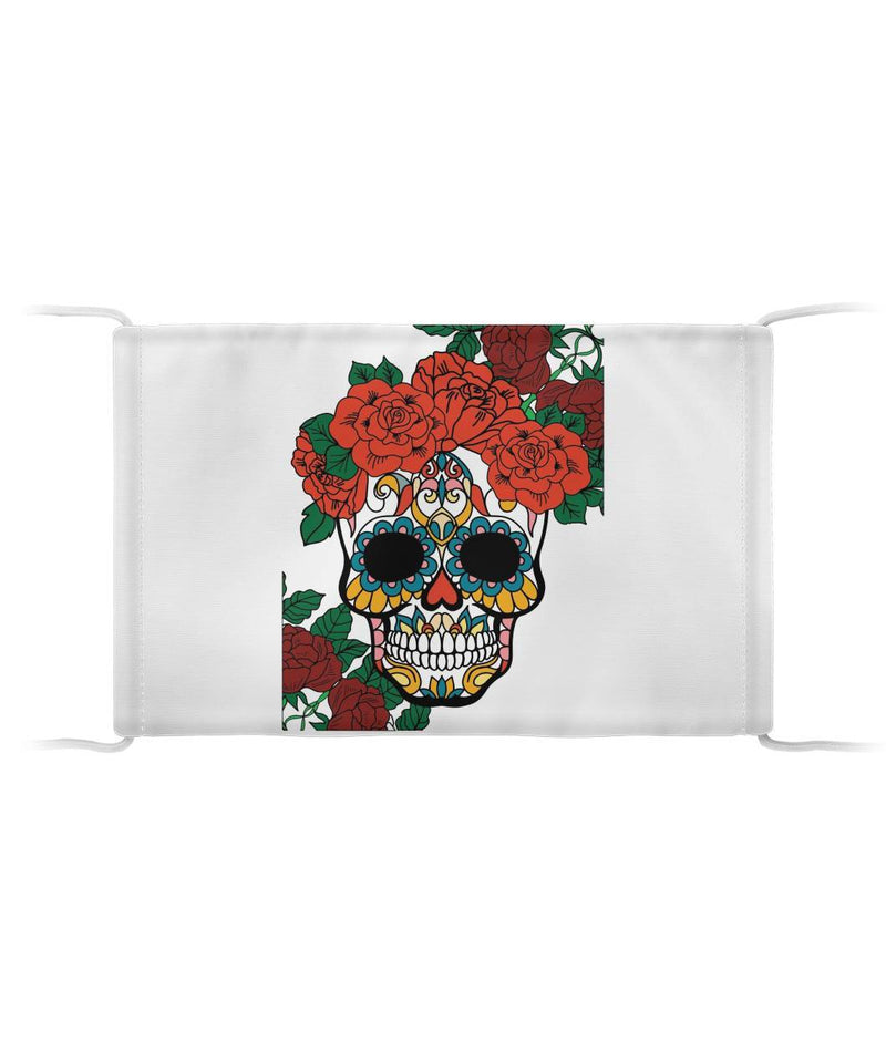 Female Sugar Skull With Flowers Cloth Face Mask - SugarSkulls.io