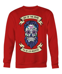 Dia De Los Muertos Banner Male Sugar Skull (Blue Hair) Crew Neck Sweatshirt - SugarSkulls.io