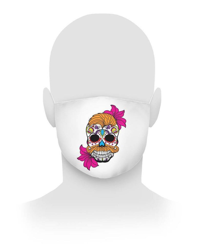 Male Skull Mask With Orange Hair and Deep Pink Flowers -  Cloth Face Mask - SugarSkulls.io