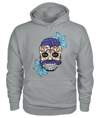 Male Skull Hoodie With Blue Hair and Blue Flowers - - SugarSkulls.io