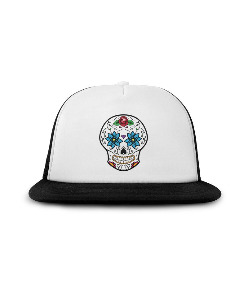 "Sugar Skull ""Blue Flower Eyes"" Sublimation Hat - SugarSkulls.io"