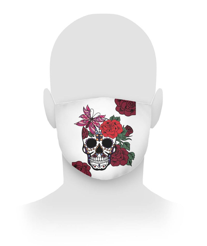 Female Sugar Skull With Flowers and Butterfly Cloth Face Mask - SugarSkulls.io