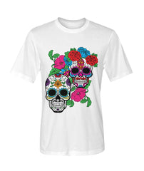 Day of The Dead (Dia De Los Muertos) With Fun Sugar Skull Dry Sport Tee - SugarSkulls.io